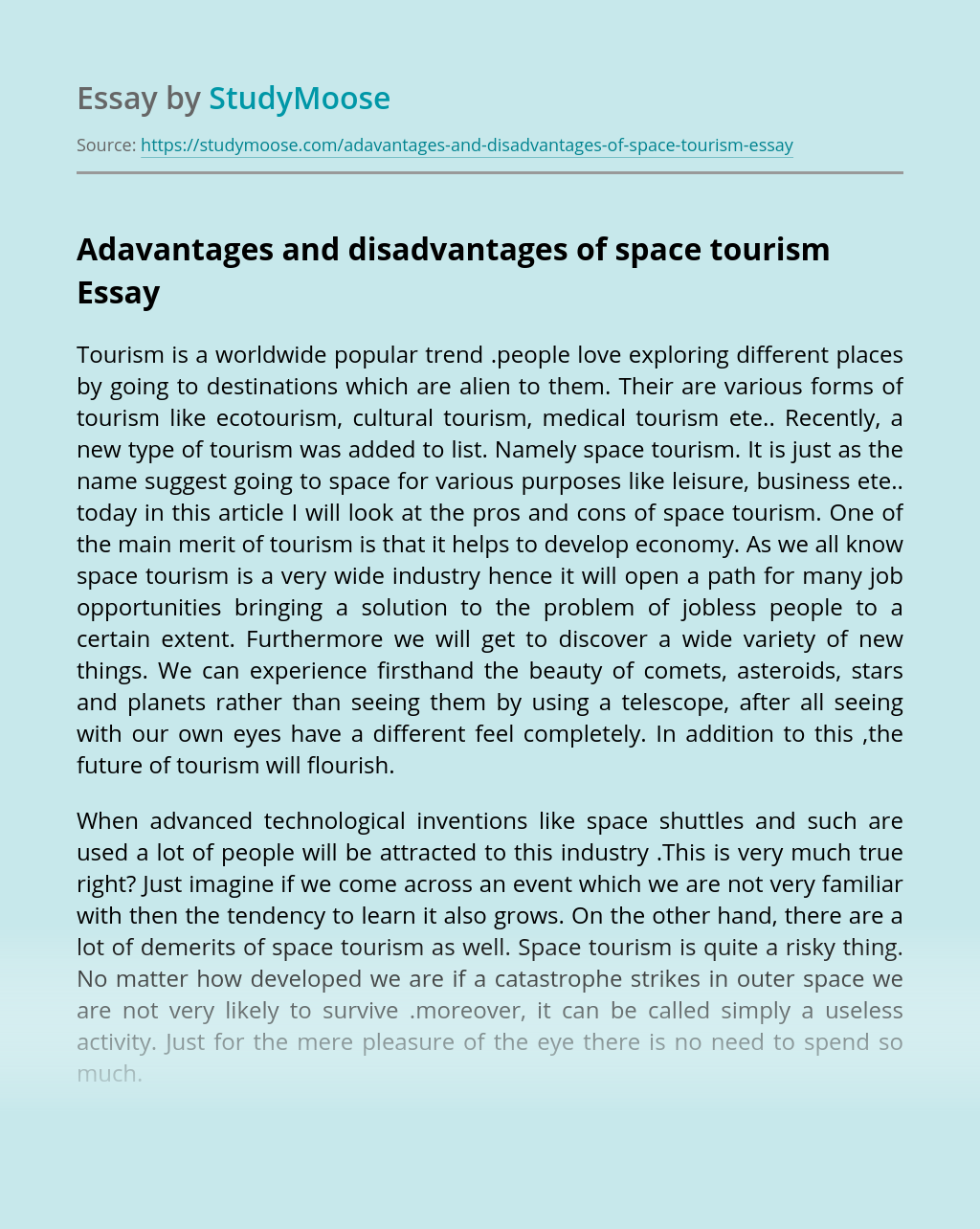 Adavantages and disadvantages of space tourism