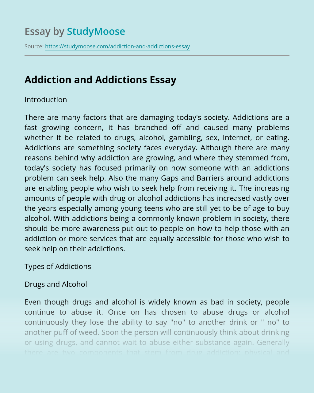 Addiction and Addictions