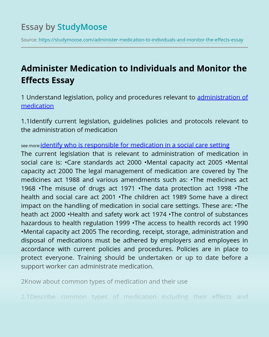 Administer Medication to Individuals and Monitor the Effects