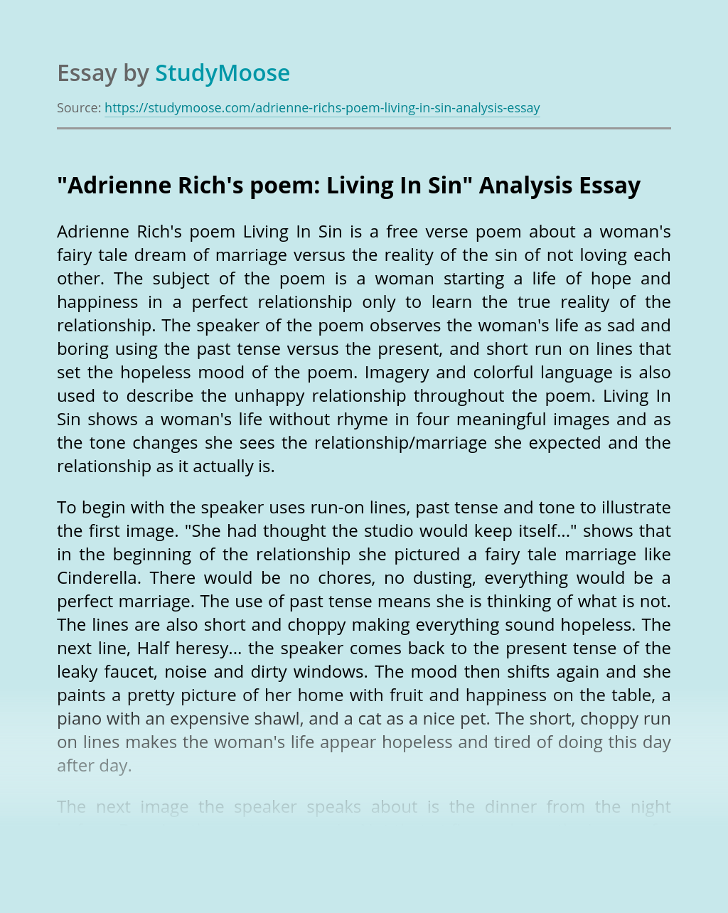 """Adrienne Rich's poem: Living In Sin"" Analysis"