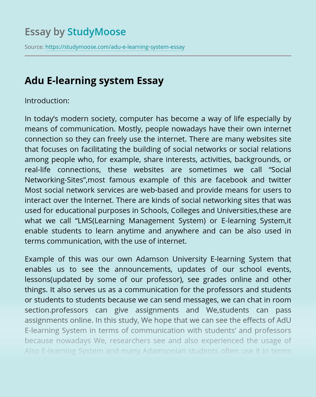 Adu E-learning system
