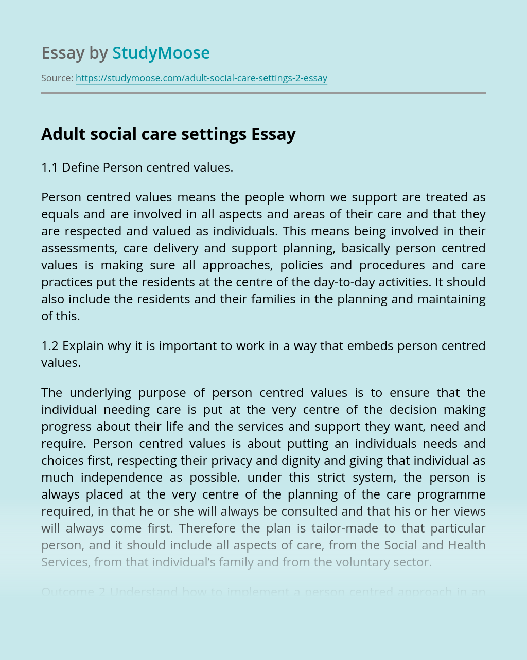 Adult social care settings