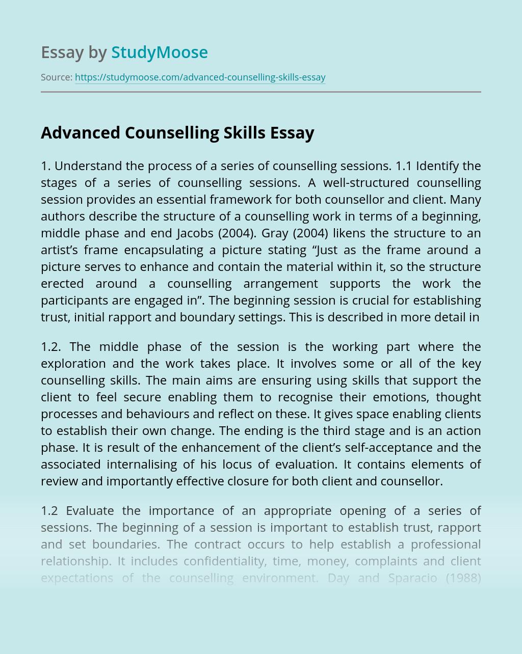 Advanced Counselling Skills