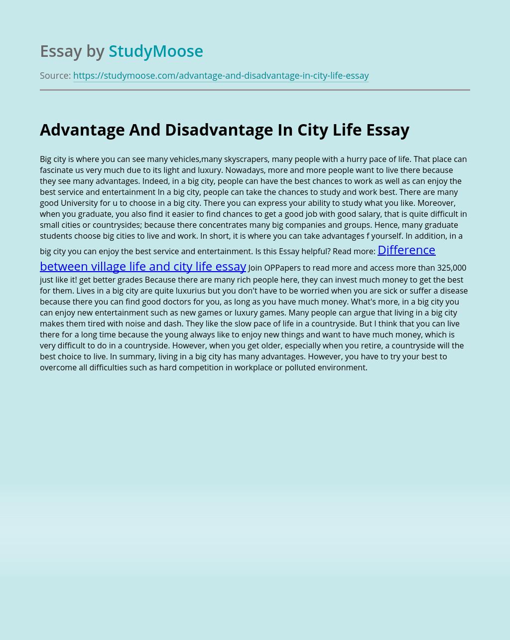 Advantage And Disadvantage In City Life
