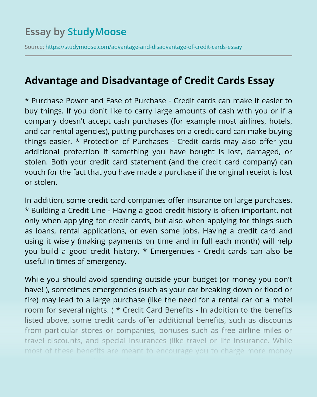 Advantage and Disadvantage of Credit Cards