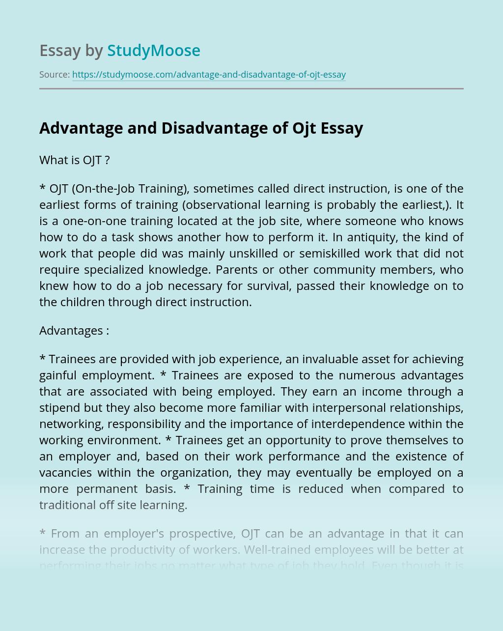 Advantage and Disadvantage of Ojt