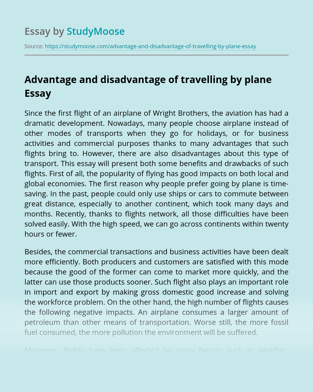 Advantage and disadvantage of travelling by plane