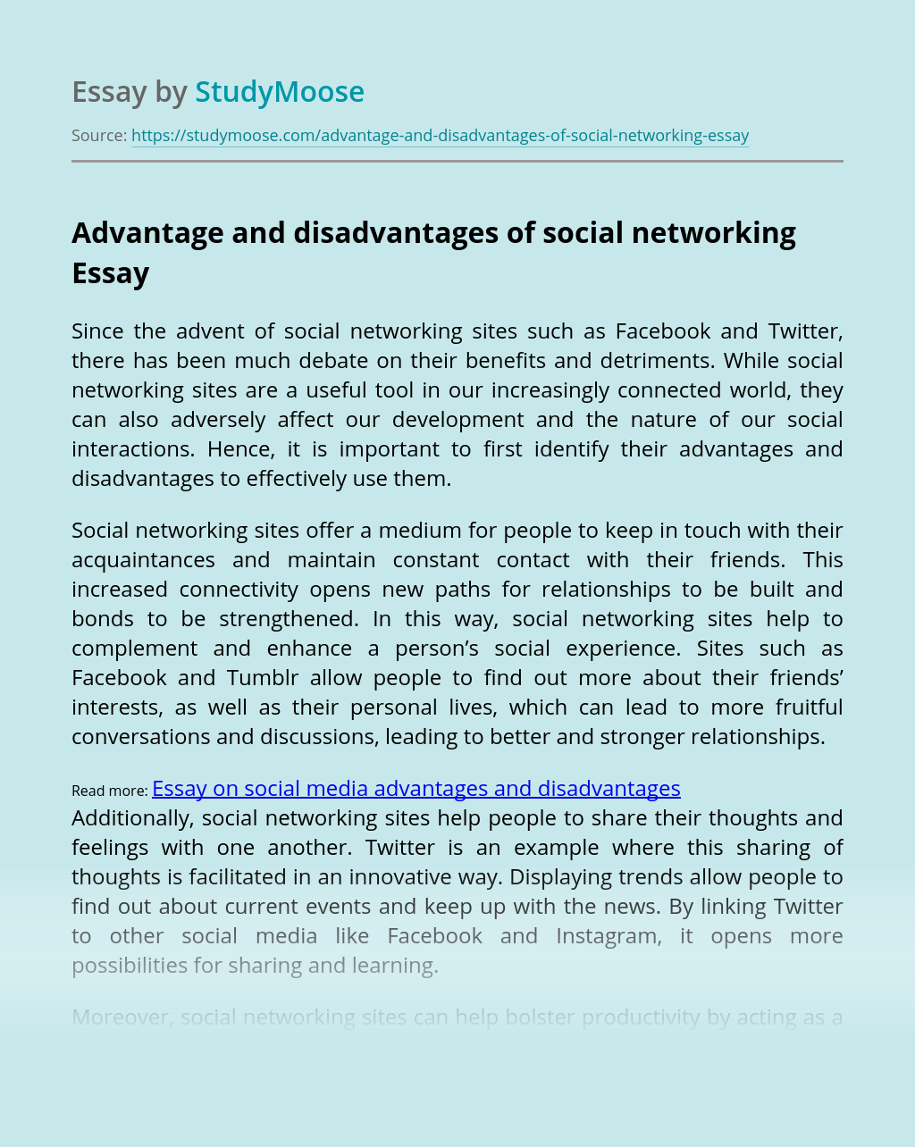Advantage and disadvantages of social networking