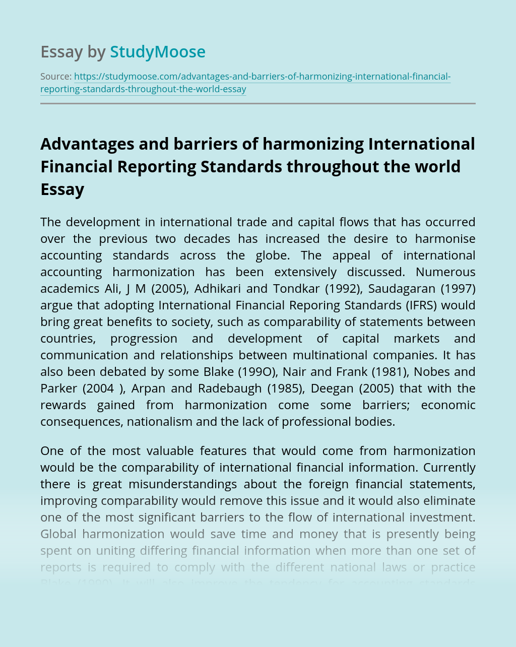 Advantages and barriers of harmonizing International Financial Reporting Standards throughout the world