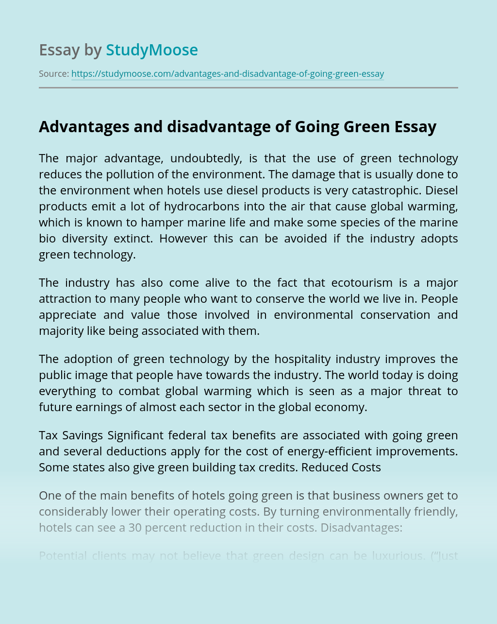 Advantages and Disadvantage of Going Green
