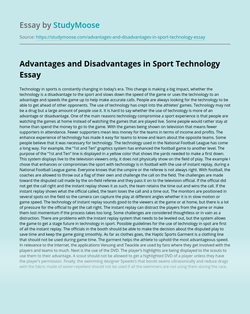 Advantages and Disadvantages in Sport Technology