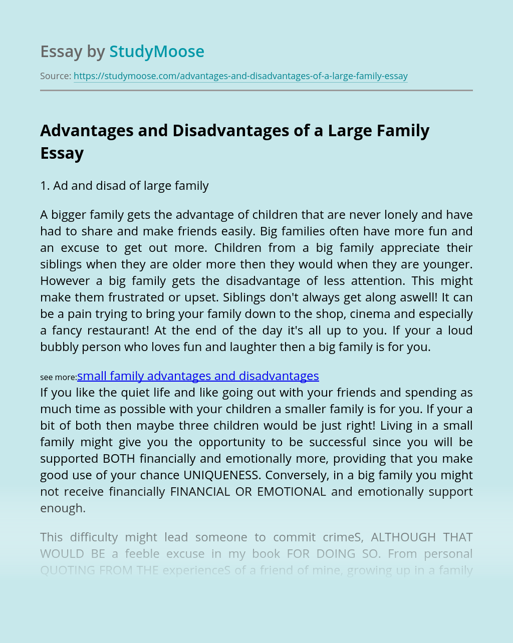 Advantages and Disadvantages of a Large Family