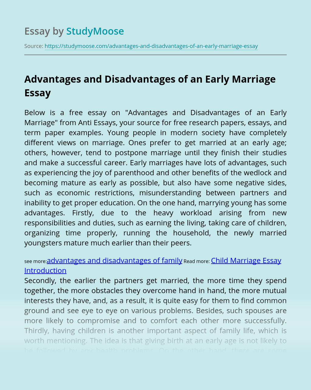 Advantages and Disadvantages of an Early Marriage