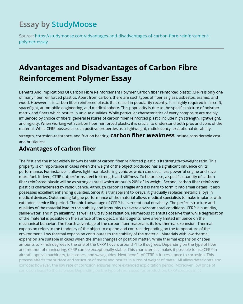 Advantages and Disadvantages of Carbon Fibre Reinforcement Polymer