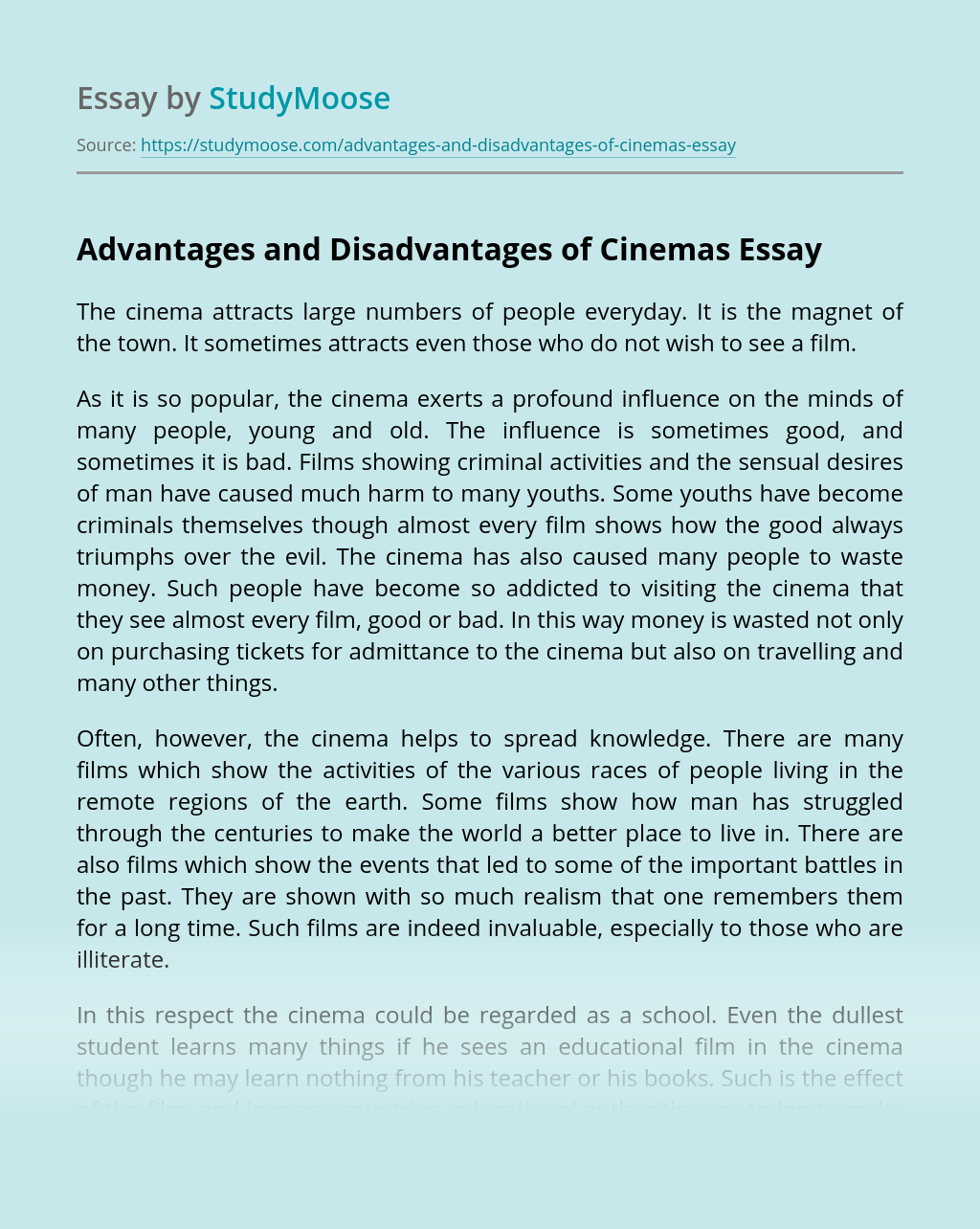 Advantages and Disadvantages of Cinemas