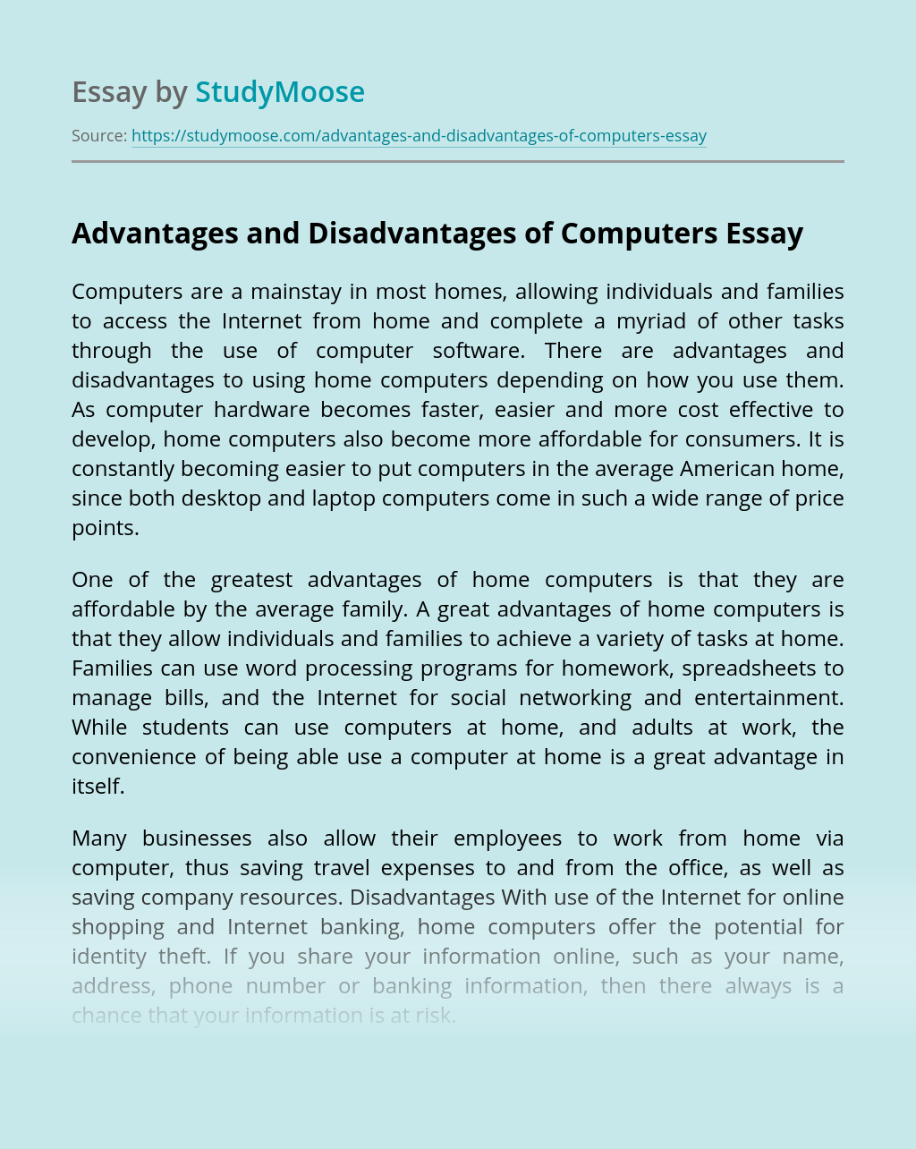 Advantages and Disadvantages of Computers