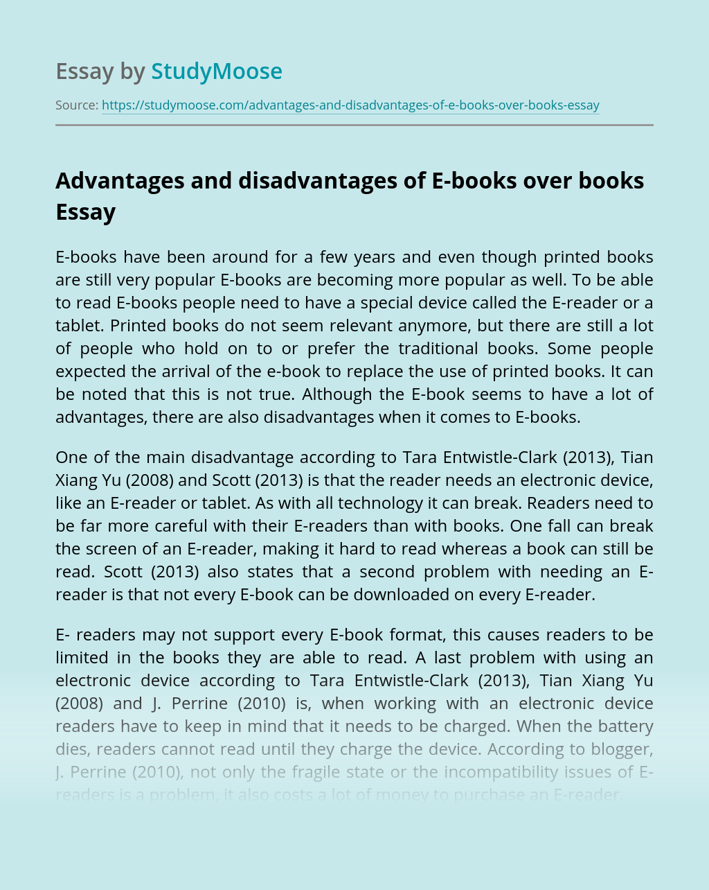 Advantages and disadvantages of E-books over books