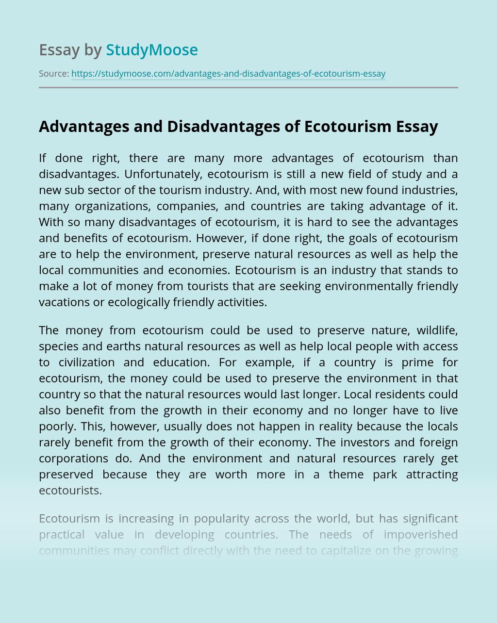 Advantages and Disadvantages of Ecotourism