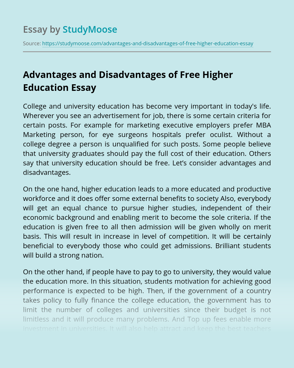 Advantages and Disadvantages of Free Higher Education
