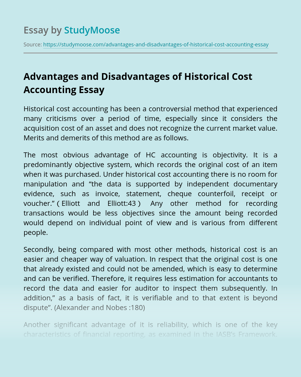 Advantages and Disadvantages of Historical Cost Accounting