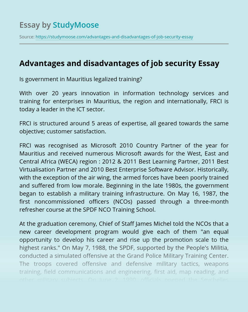 Advantages and disadvantages of job security