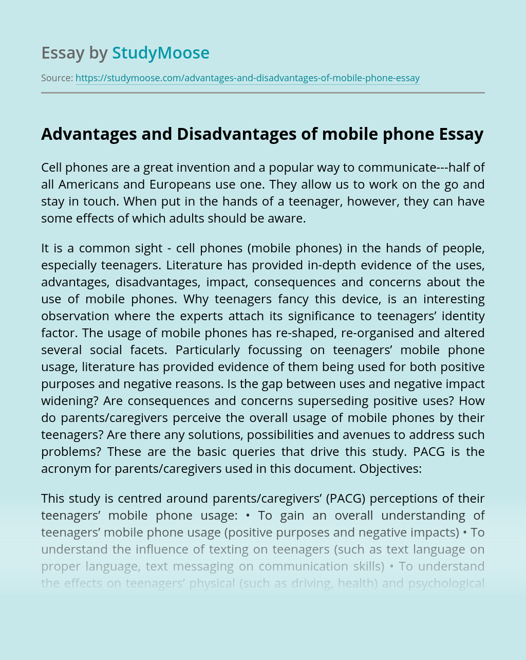 Advantages and Disadvantages of mobile phone