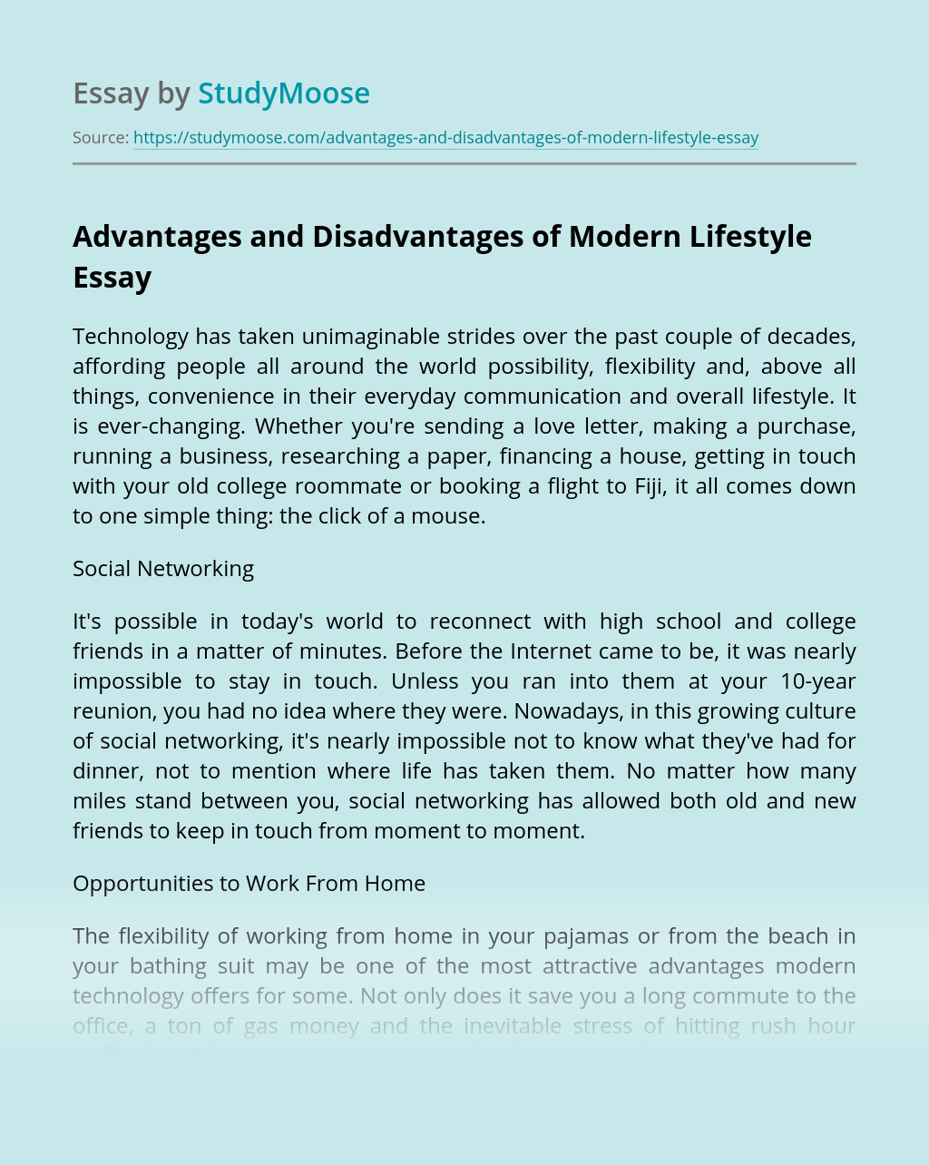 Advantages and Disadvantages of Modern Lifestyle