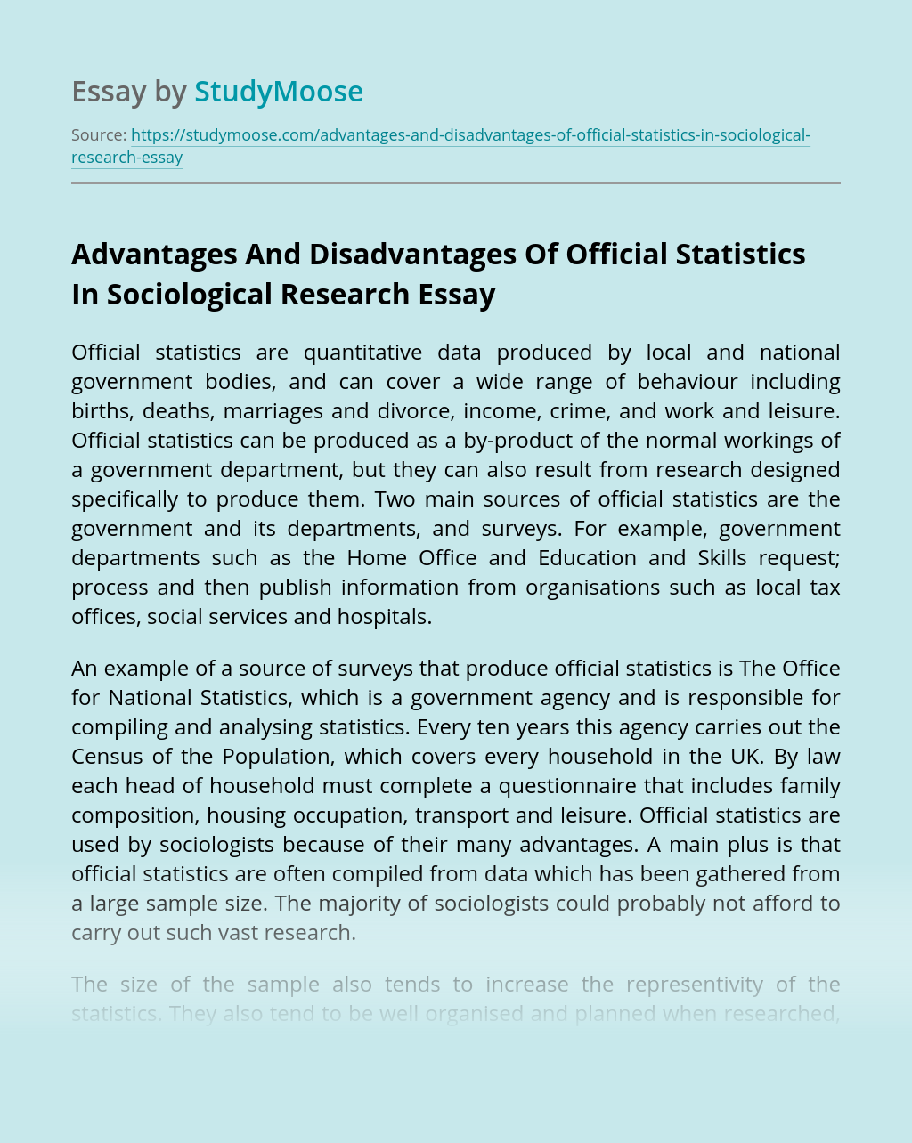 Advantages And Disadvantages Of Official Statistics In Sociological Research