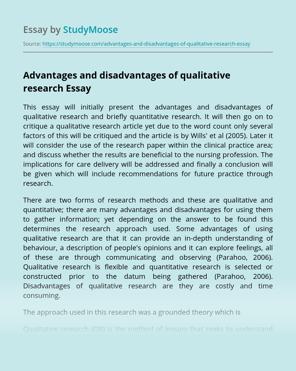 Advantages and disadvantages of qualitative research