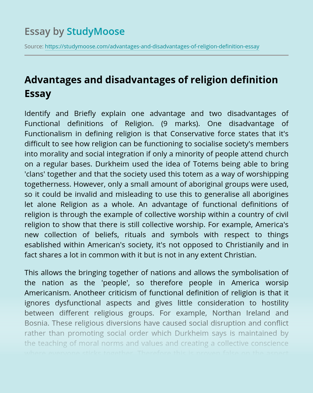 Advantages and disadvantages of religion definition