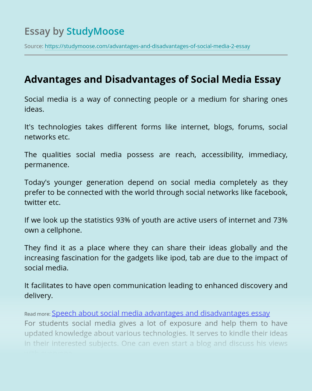 Way of connecting people - Social Media
