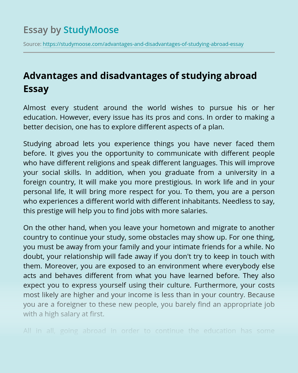 Advantages and disadvantages of studying abroad