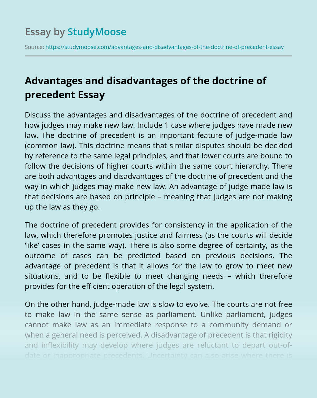 Advantages and Disadvantages of the Doctrine of Precedent