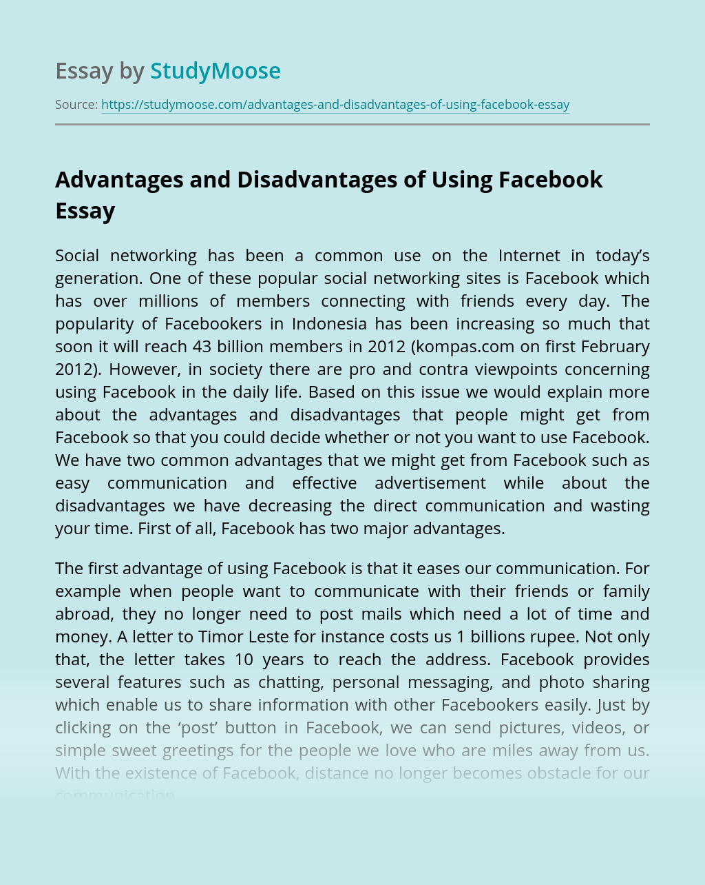 Advantages and Disadvantages of Using Facebook