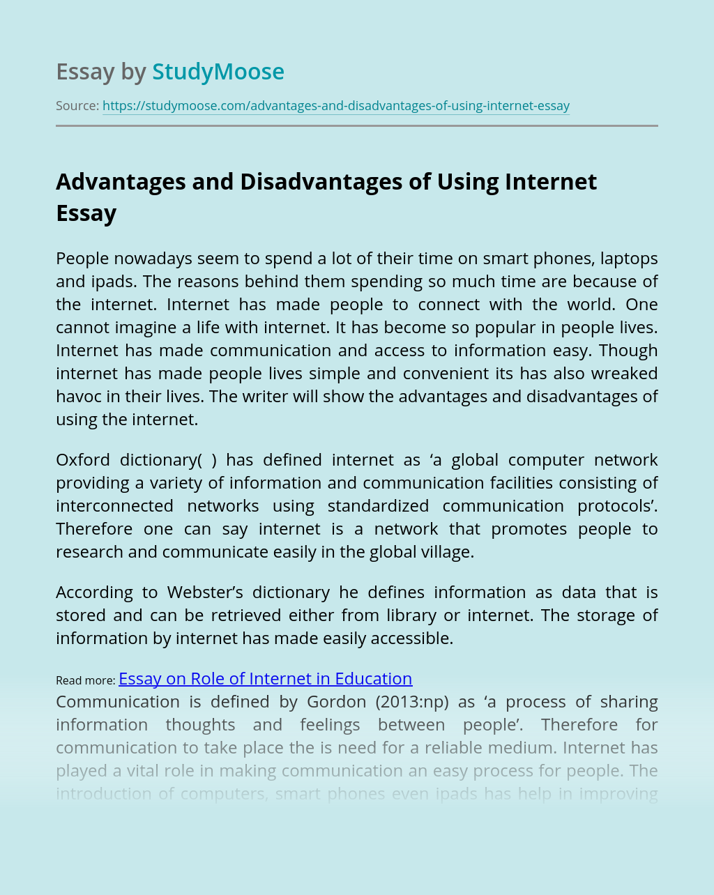 Advantages and Disadvantages of Using Internet