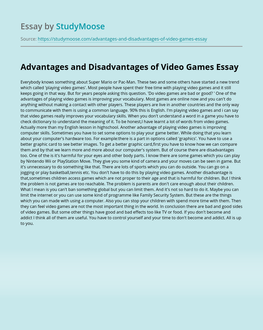 Advantages and Disadvantages of Video Games