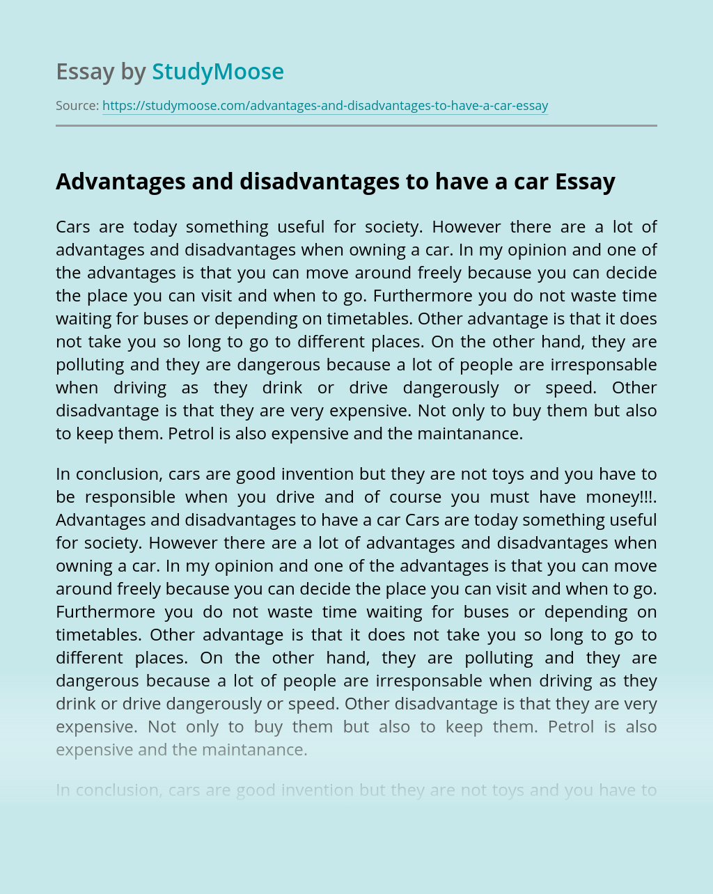 Advantages and disadvantages to have a car
