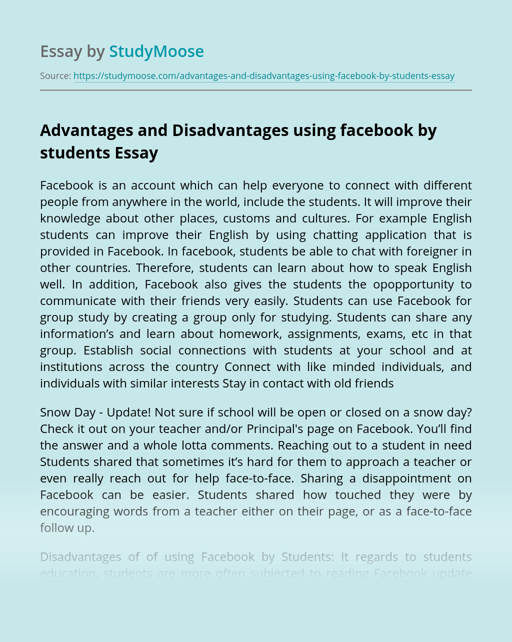 Advantages and Disadvantages using facebook by students