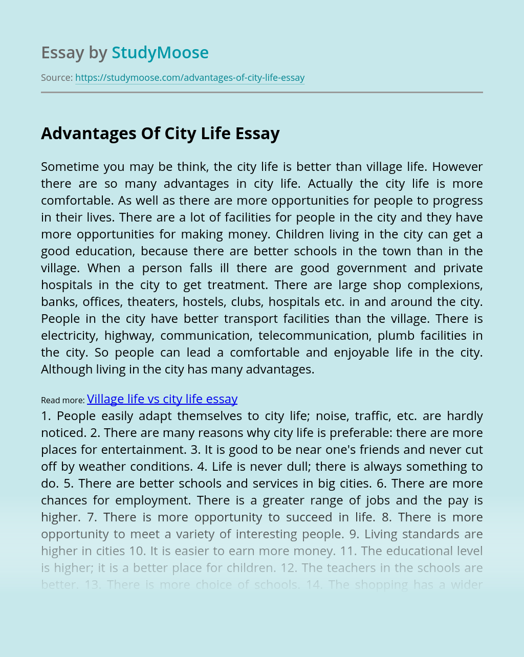 Advantages Of City Life