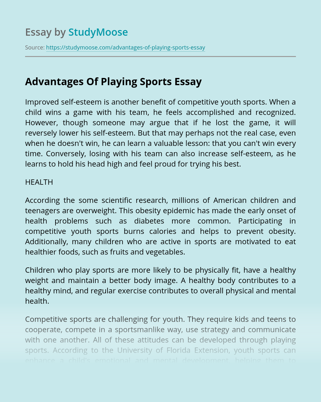 Advantages Of Playing Sports