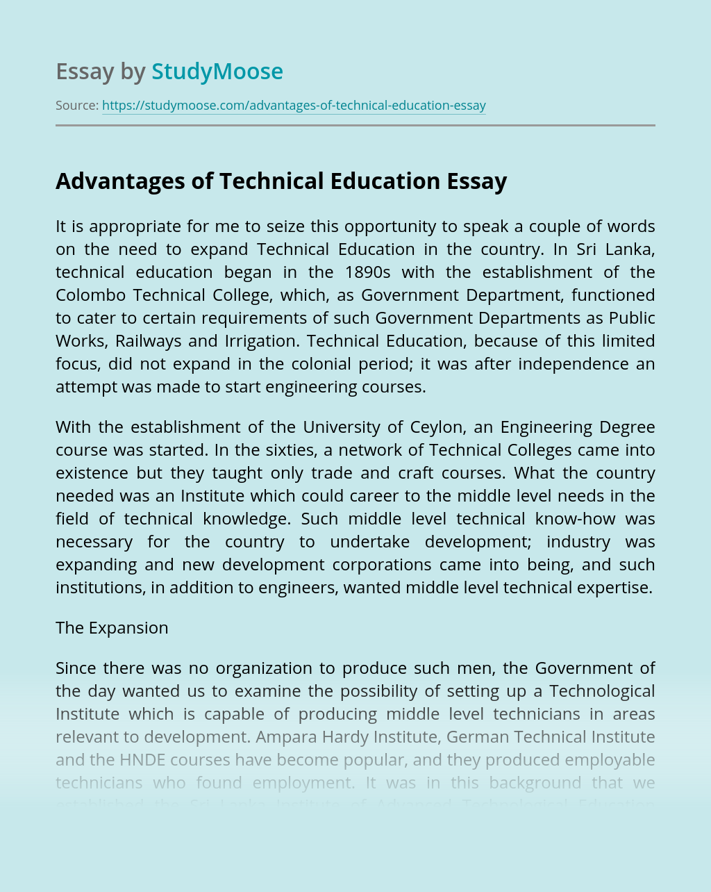 Advantages of Technical Education