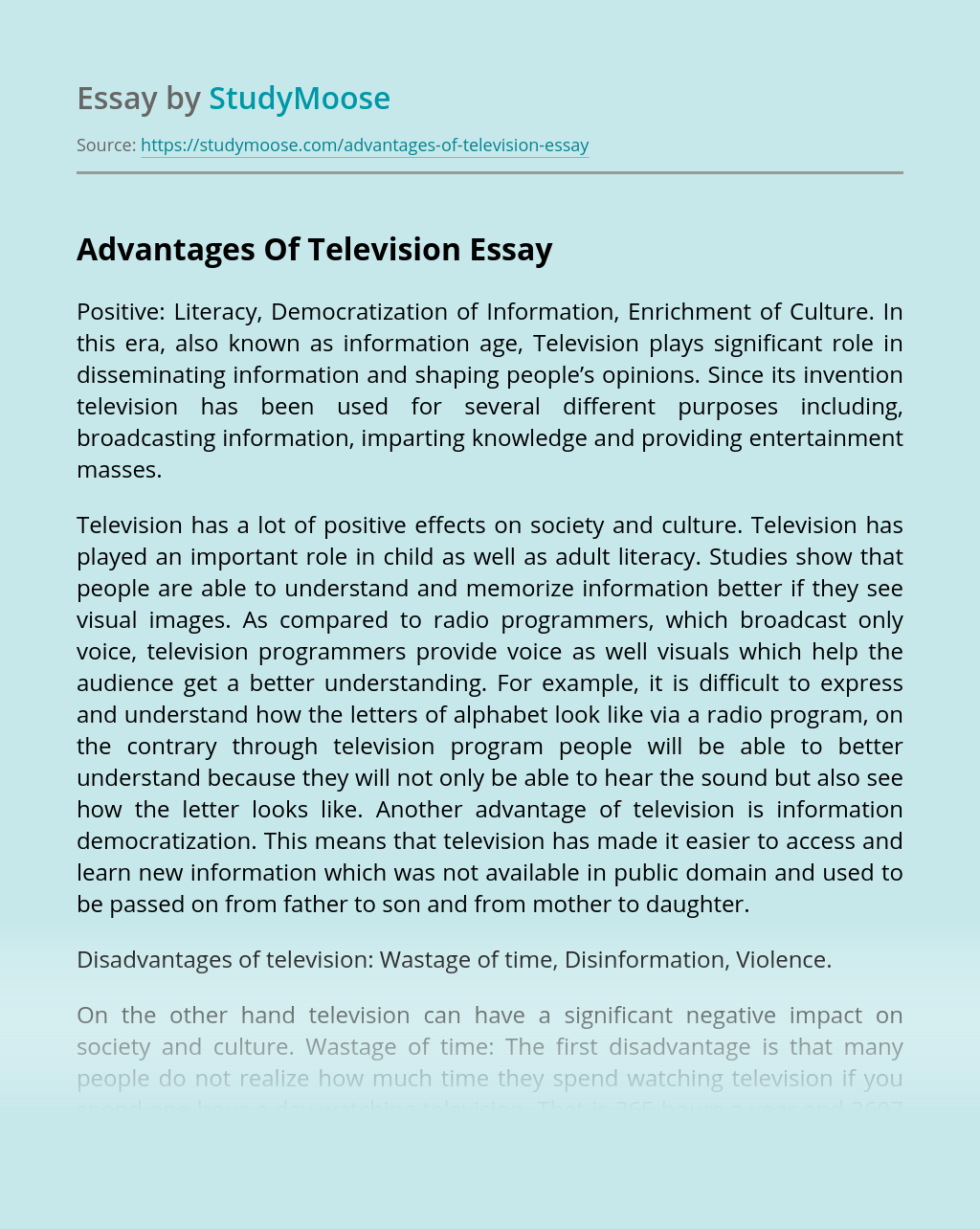 Advantages Of Television