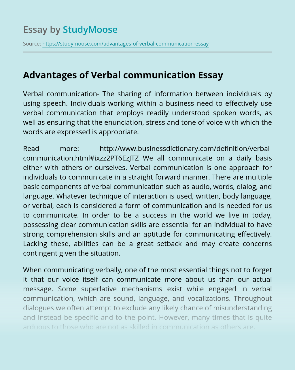 Advantages of Verbal communication