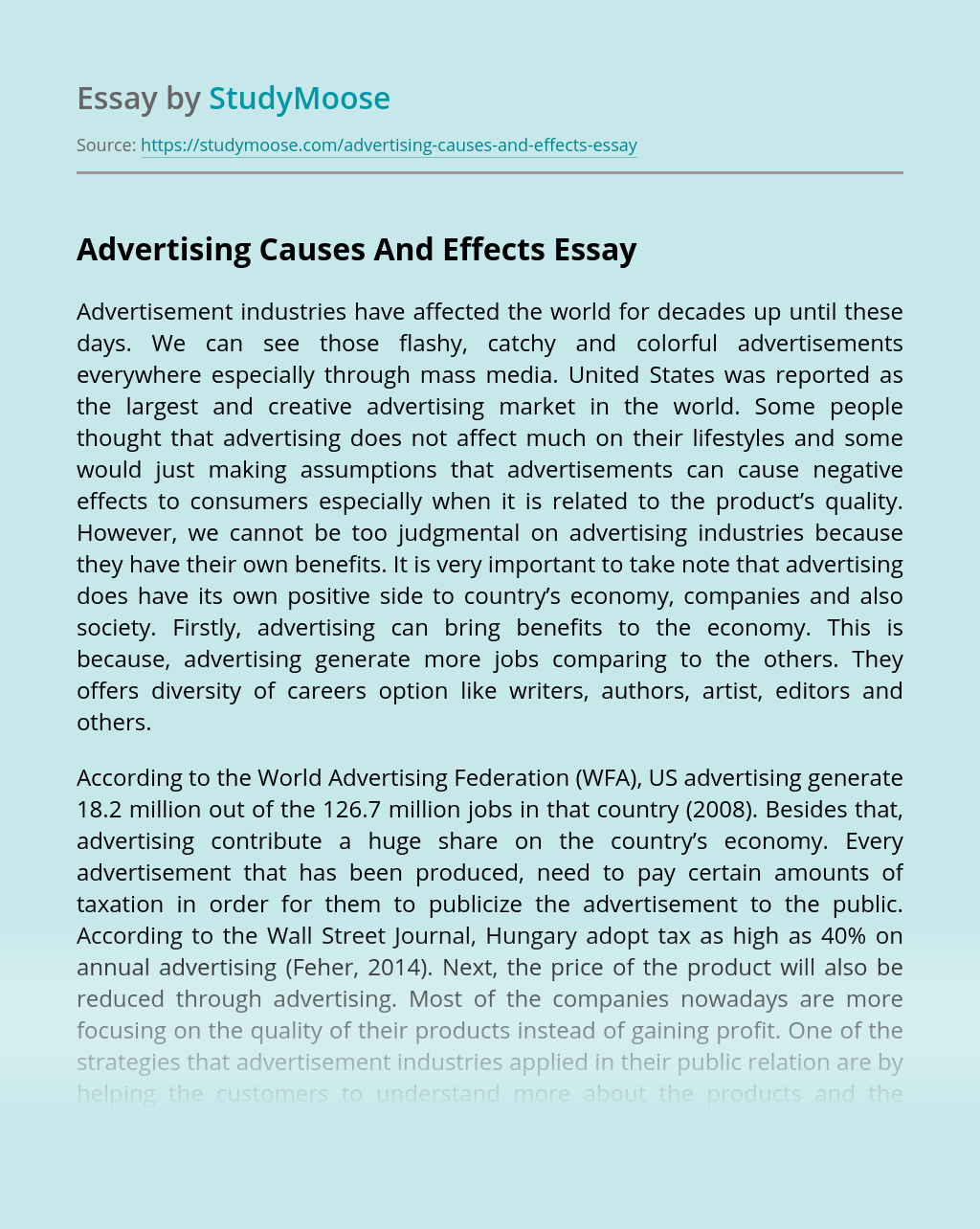 Advertising Causes And Effects
