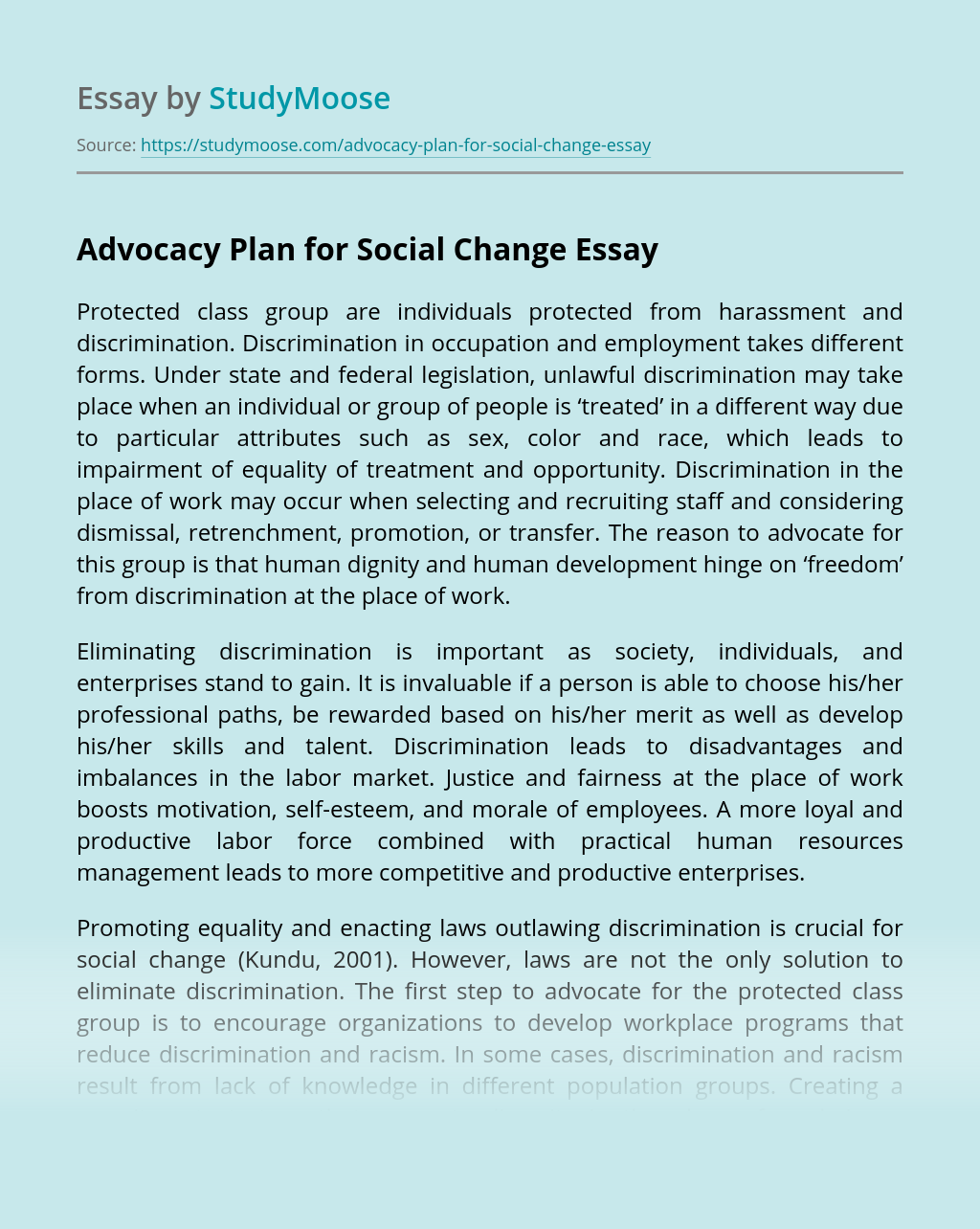 Advocacy Plan for Social Change