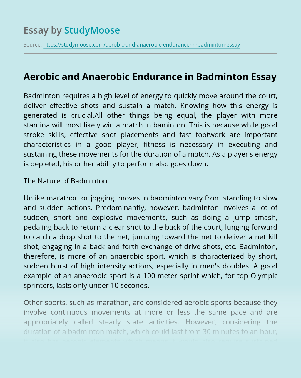 Aerobic and Anaerobic Endurance in Badminton