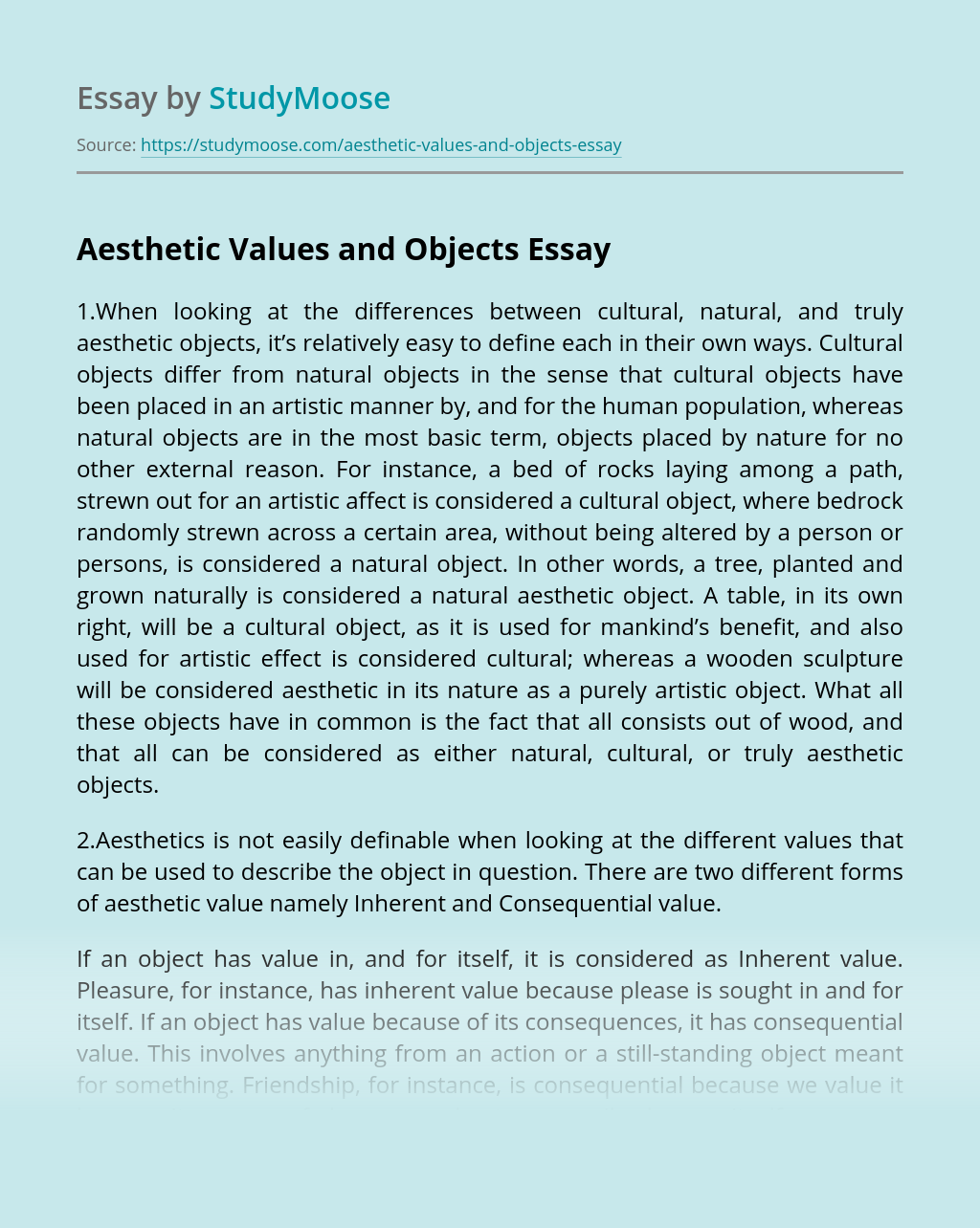 Aesthetic Values and Objects