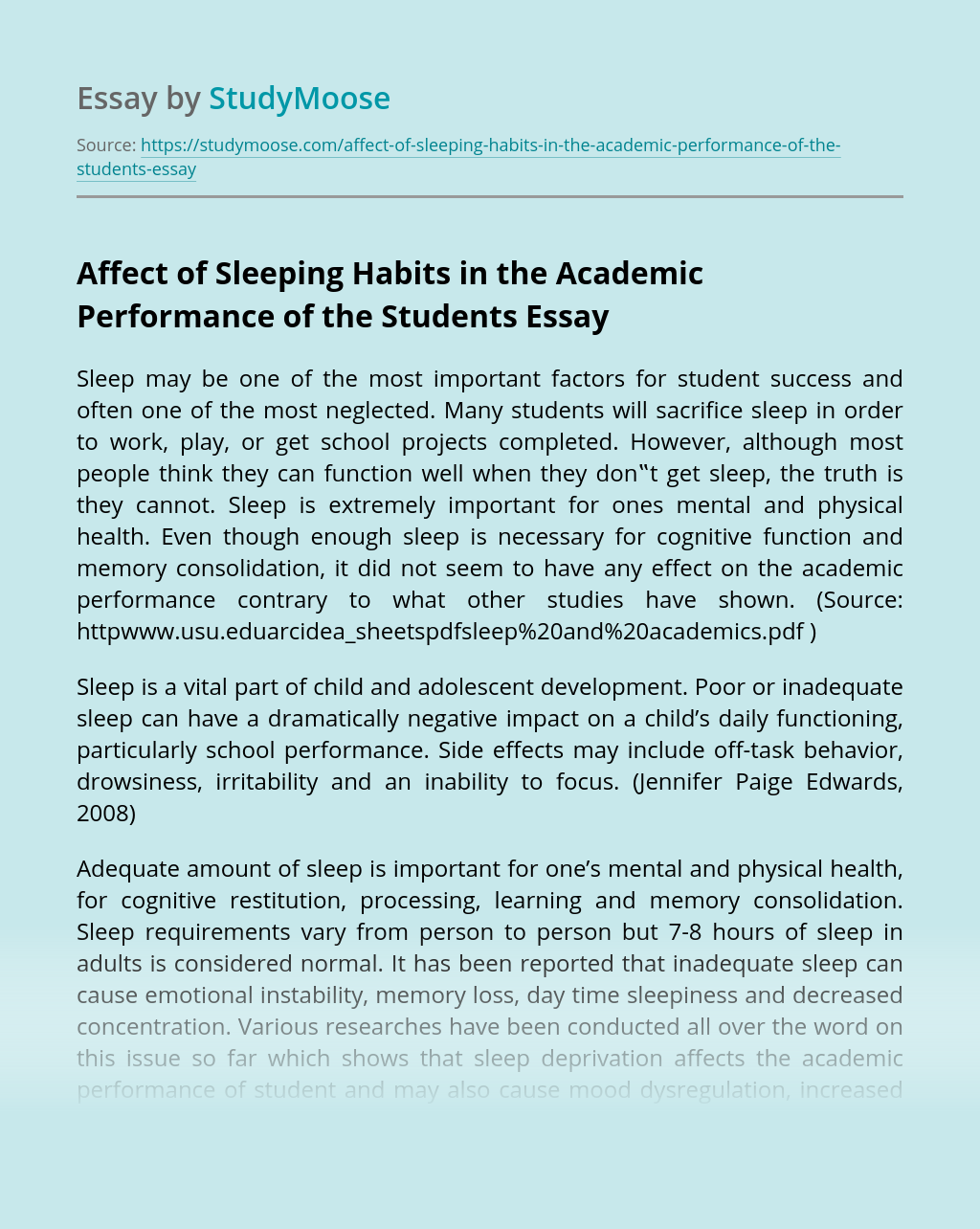 Affect of Sleeping Habits in the Academic Performance of the Students