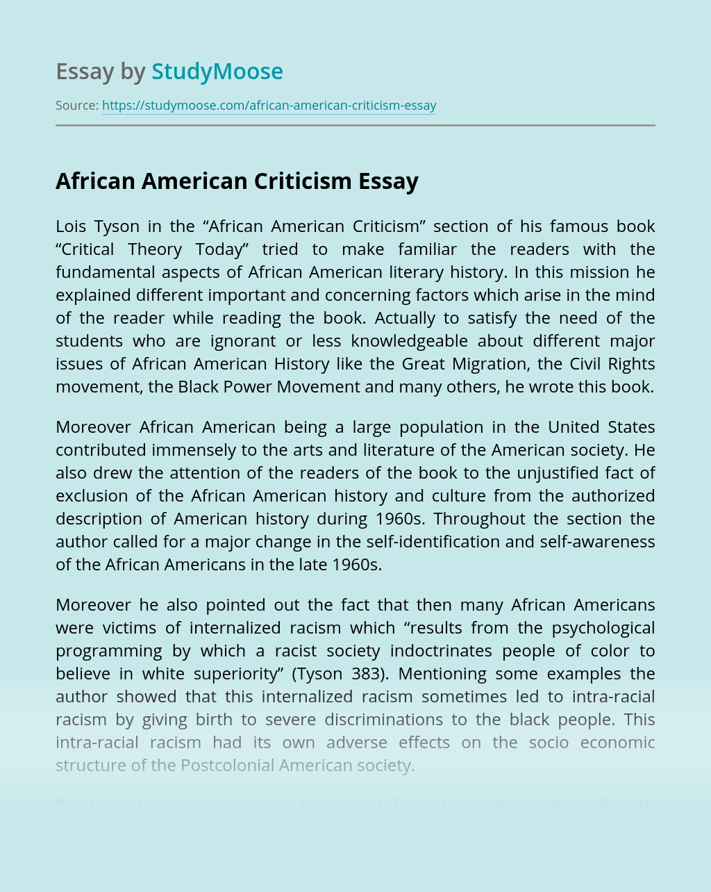 African American Criticism