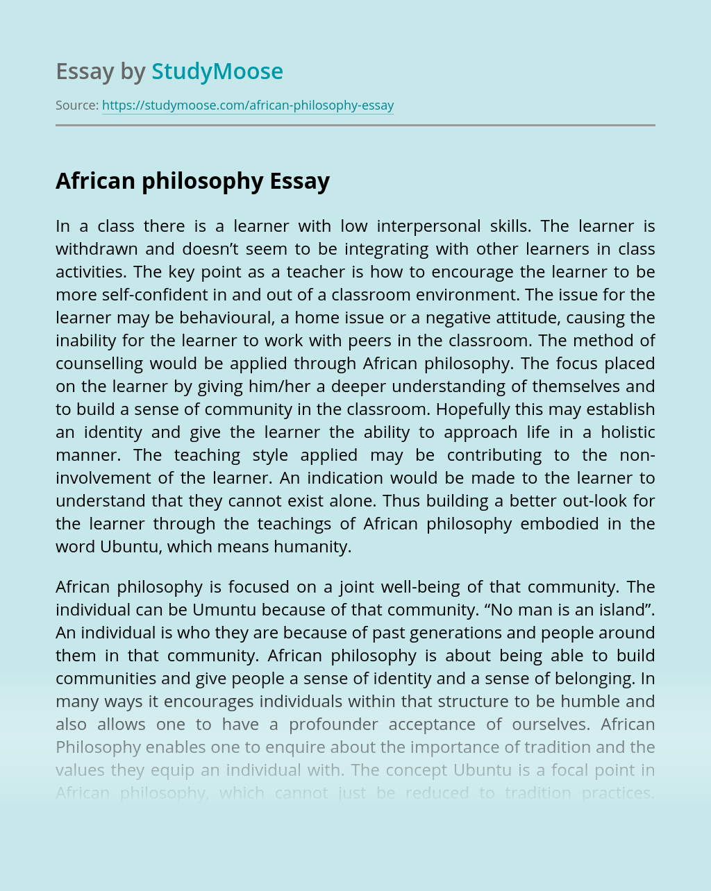 The meaning of Ubuntu in African philosophy